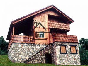 casa de madera combinando piedra