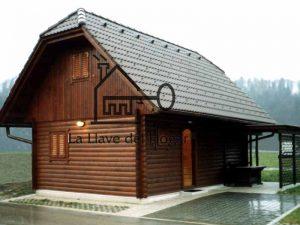 casa de madera de tronco redondo modelo Jaca