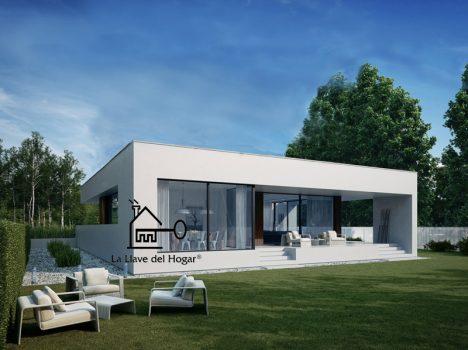 casa prefabricada de entramado ligero moderna cúbica tejado plano