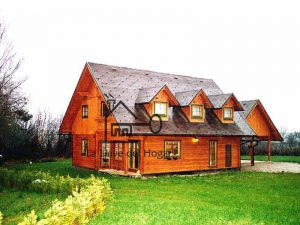 casa de madera alpina de alta montaña con tres mansardas