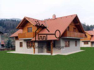 casa de madera que combina obra con madera