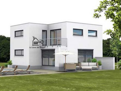 casa de entramado ligero moderna de dos plantas fachada de obra