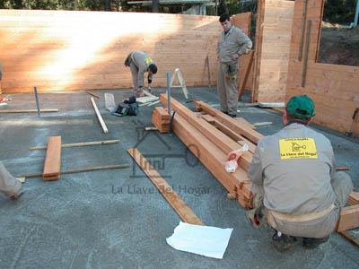 seleccionando los primeros troncos para iniciar la construcción de la planta baja